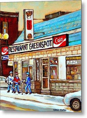 Greenspot Restaurant Notre Dame Street  South West Montreal Paintings Winter Hockey Scenes St. Henri Metal Print by Carole Spandau