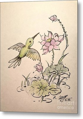 Greeting Hummingbird Metal Print by Rose Wang