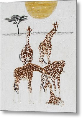 Metal Print featuring the painting Greeting The New Arrival by Stephanie Grant