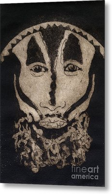 Metal Print featuring the painting Greetings From New Guinea - Mask - Tribesmen - Tribesman - Tribal - Jefe - Chef De Tribu by Urft Valley Art