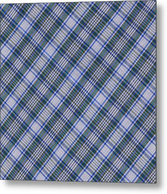 Grey Blue And Green Diagnoal Plaid Fabric Background Metal Print