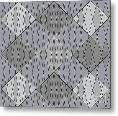 Grey Diamond Plaid Metal Print by Anne Cameron Cutri