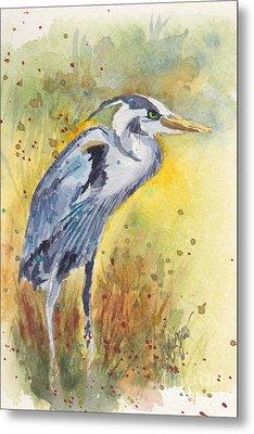 Grey Heron Langley Wa Metal Print by Judi Nyerges