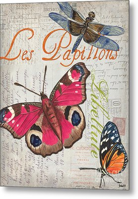 Grey Postcard Butterflies 1 Metal Print