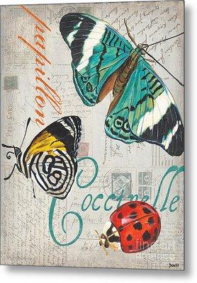 Grey Postcard Butterflies 2 Metal Print