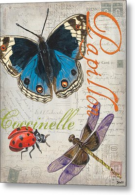 Grey Postcard Butterflies 4 Metal Print by Debbie DeWitt