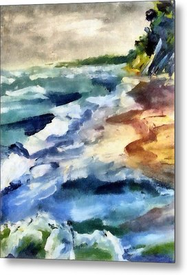 Grey Sky Day On The Lake Metal Print by Michelle Calkins