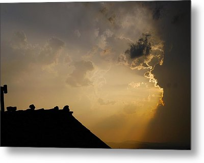 Grey Sunset Over Rooftop Metal Print