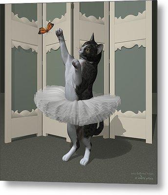 Grey Tabby Ballet Cat On Paw-te Metal Print by Andre Price
