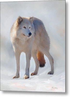 Grey Wolf Metal Print by Johanne Dauphinais
