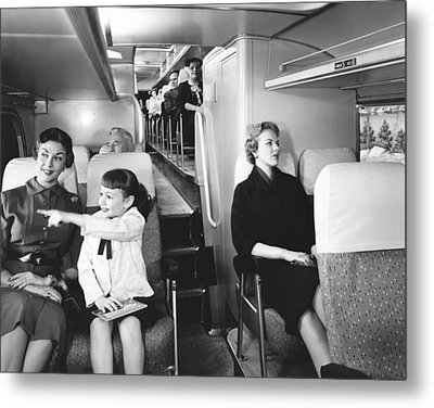 Greyhound Bus Passengers Metal Print by Underwood Archives