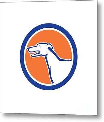 Greyhound Dog Head Side Retro Circle Metal Print by Aloysius Patrimonio