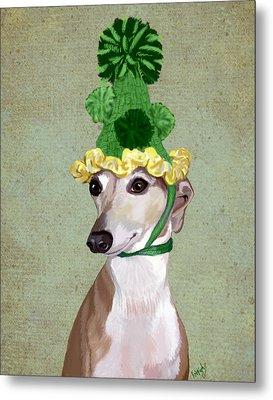 Greyhound Green Bobble Hat Metal Print by Kelly McLaughlan