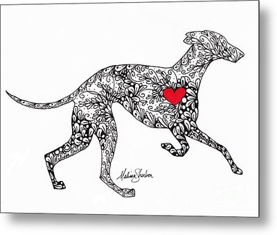 Metal Print featuring the drawing Greyhound by Melissa Sherbon