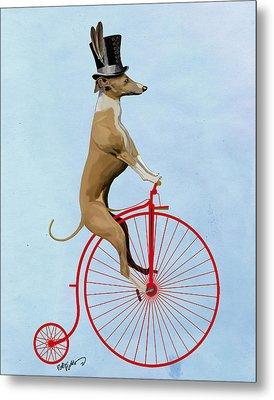 Greyhound Pennyfarthing Red Metal Print by Kelly McLaughlan