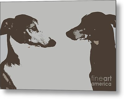 Greyhound Profile Cutouts Metal Print by Kate Sumners