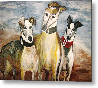 Greyhounds Metal Print by Leslie Manley