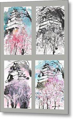Grid No.6 Japanese Castle In Spring Metal Print