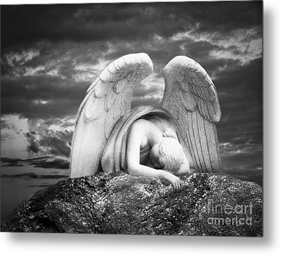Grieving Angel Metal Print by Olga Zamora