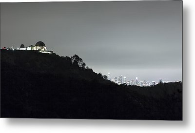 Griffith Park Observatory And Los Angeles Skyline At Night Metal Print