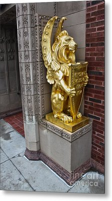 Grinnell Iowa - Louis Sullivan - Jewel Box Bank - Gold Lion Metal Print by Gregory Dyer
