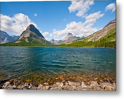 Grinnell Point From Swiftcurrent Lake Metal Print