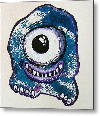 Grinning Monster Metal Print by Nancy Mitchell