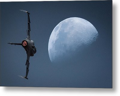 Metal Print featuring the photograph Gripen Moon by Paul Job