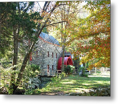 Grist Mill In Fall Metal Print by Barbara McDevitt