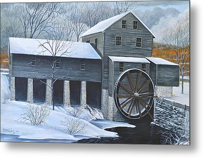 Grist Mill In Winter Metal Print by Dave Hasler