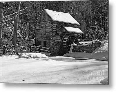 Grist Mill Winter In Black And White Metal Print by Paul Ward