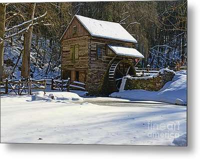 Grist Mill Winter Metal Print by Paul Ward