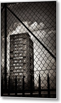 Gritty London Tower Block And Fence - East End London Metal Print by Lenny Carter