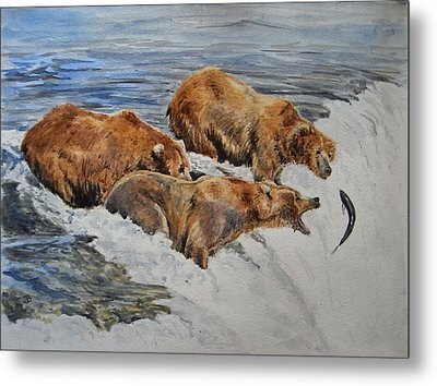 Grizzlies Fishing Metal Print by Juan  Bosco