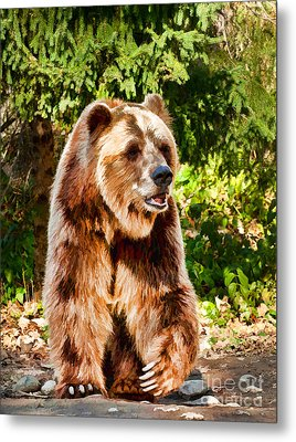Grizzly Bear - Painterly Metal Print
