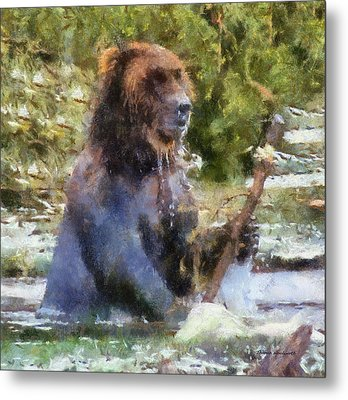 Grizzly Bear Photo Art 02 Metal Print by Thomas Woolworth