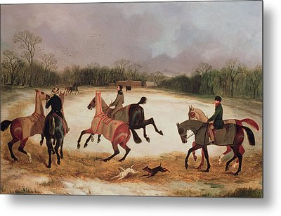 Grooms Exercising Racehorses  Metal Print by David of York Dalby