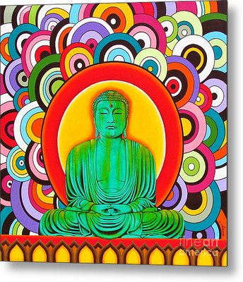 Metal Print featuring the painting Groovy Buddha by Joseph Sonday