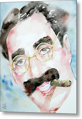 Groucho Marx Watercolor Portrait.2 Metal Print by Fabrizio Cassetta