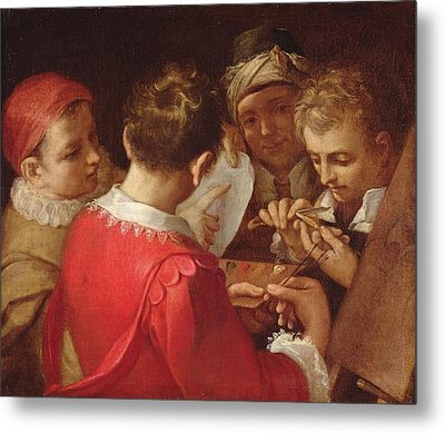 Group Of Artists Oil On Canvas Metal Print by Annibale Carracci