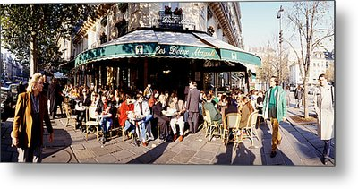 Group Of People At A Sidewalk Cafe, Les Metal Print by Panoramic Images