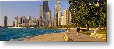 Group Of People Jogging, Chicago Metal Print