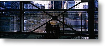 Group Of People Looking At A Memorial Metal Print by Panoramic Images