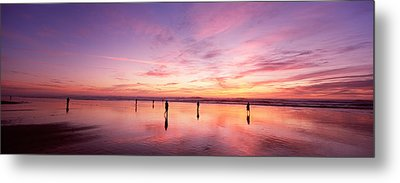 Group Of People Watching The Sunset Metal Print by Panoramic Images