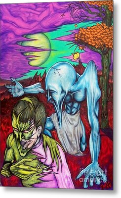 Metal Print featuring the drawing Growing Evils by Michael  TMAD Finney