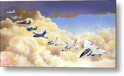 Grumman Cats Fantasy Formation Metal Print by Douglas Castleman