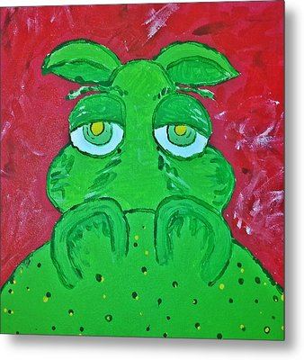 Grumpy Green Hippo Metal Print