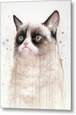 Grumpy Watercolor Cat Metal Print by Olga Shvartsur