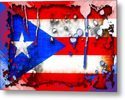 Grunge And Splatter Puerto Rico Flag Metal Print