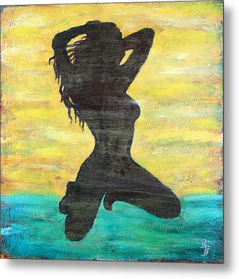Grunge Girl Female Silhouette Pop Art Metal Print by Bob Baker